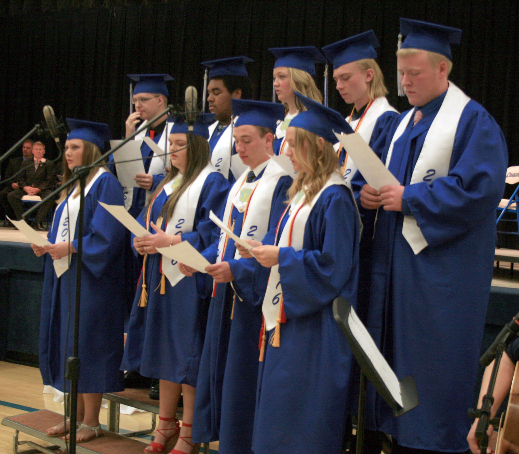 The nine members of the Goodridge High School Class of 2016 sang together for the last time at their graduation ceremony Sunday, May 22 at the school.